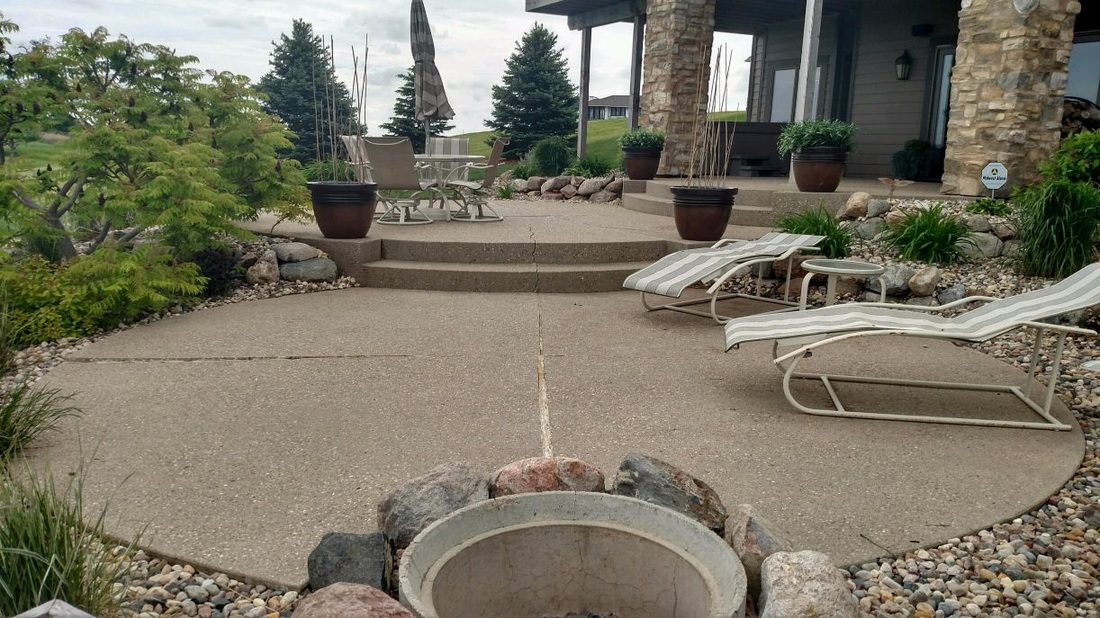 before concrete overlay patio
