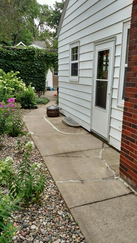 before concrete overlay sidewalk